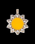 Molu Pırlantalı Sarı Mineli Güneş Charm