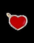Molu Kırmızı Mineli Kalp Charm