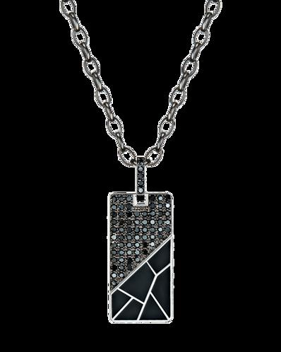 Molu Siyah Pırlantalı Siyah Mineli Gümüş Kolye