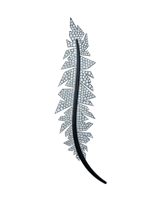 Molu Pırlantalı Siyah Mineli Pave Yaprak Broş