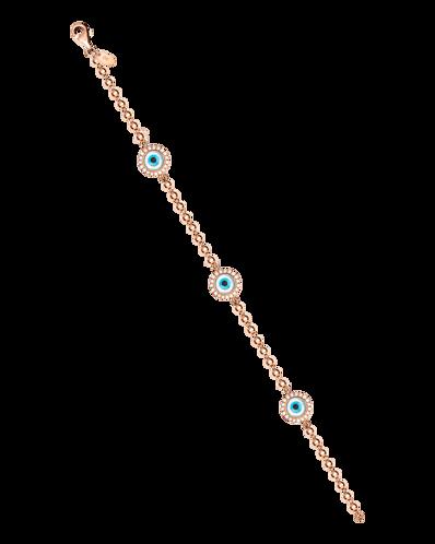 Molu Pırlantalı Üç Yuvarlak Gözlü Top Zincirli Bilezik