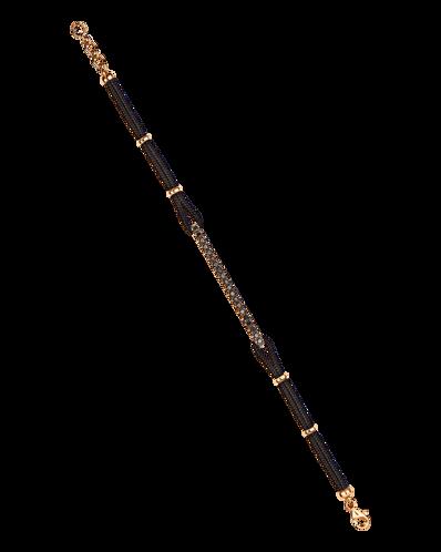 Molu Siyah Pırlantalı İpek Kordonlu Çubuk Bilezik