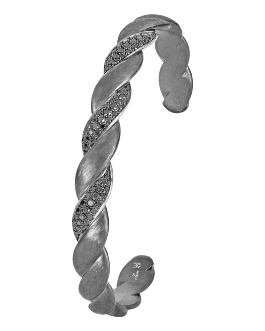 Molu Siyah Pırlantalı Gümüş Örgü Bilezik