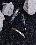 Molu Siyah Pırlantalı Gümüş Bilezik