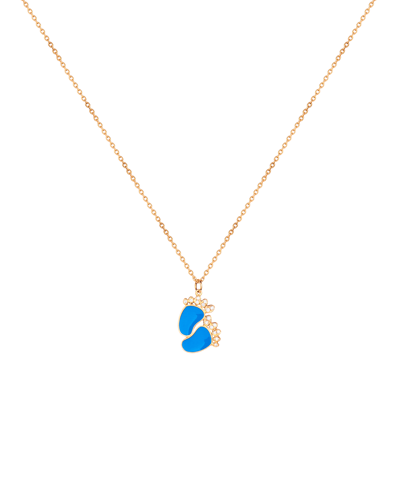 Molu Pırlantalı Mavi Mineli Bebek Ayağı Kolye