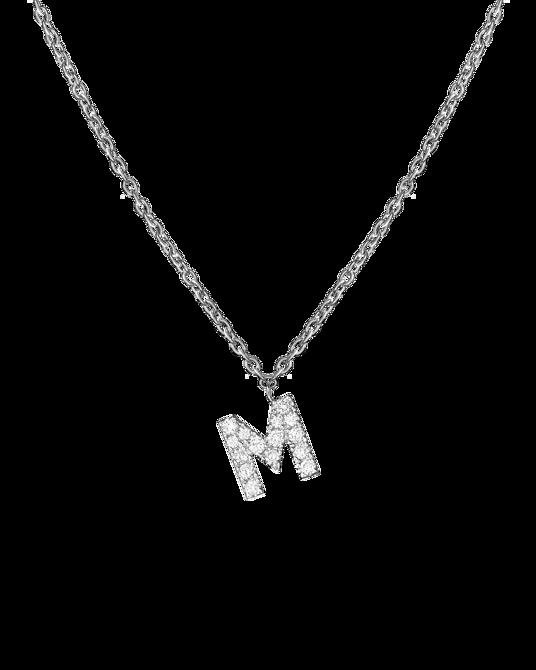 Molu Pırlantalı M Harfli Kolye