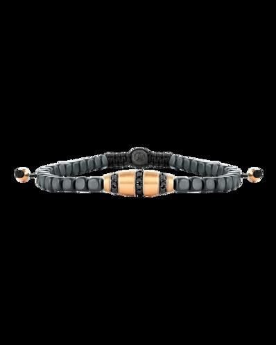 Molu Siyah Pırlantalı Hematit Makreme Örgü Bilezik