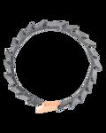 Molu Siyah Pırlantalı Gümüş Kalın Bilezik