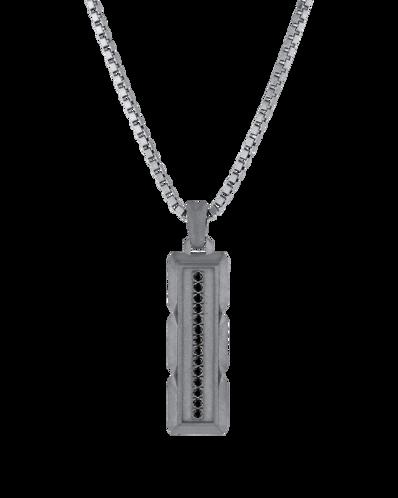Molu Siyah Pırlantalı Gümüş Jilet Kolye