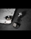 Molu Kahve Pırlantalı Siyah Mineli Gümüş Yüzük