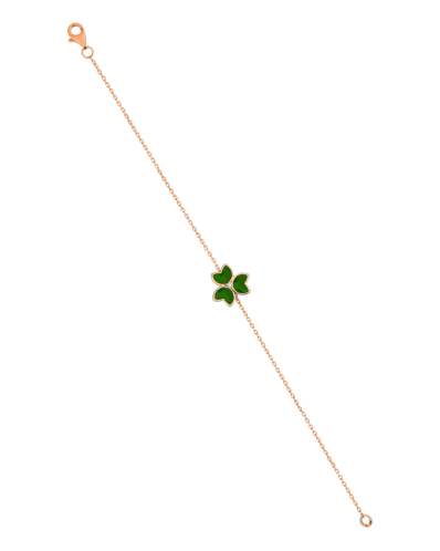 X by Molu Trifoglio Pırlantalı Yeşil Mineli Zincir Bilezik