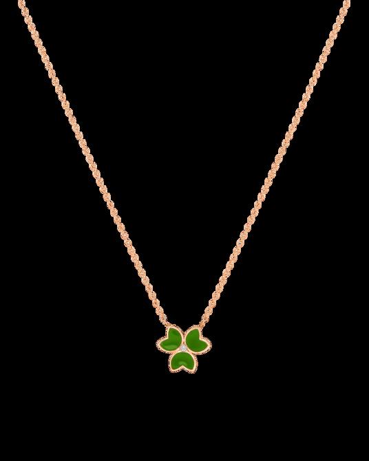 X by Molu Trifoglio Pırlantalı Yeşil Mineli Kolye