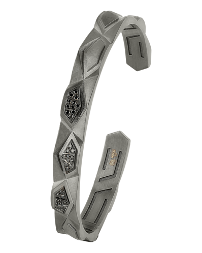 Molu Siyah Pırlantalı Gümüş Kelepçe Bilezik