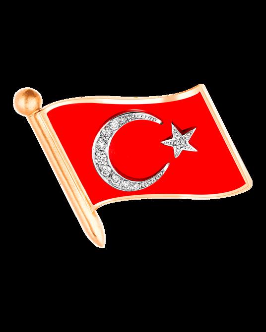 Molu Pırlantalı Mineli Türk Bayrağı Rozet